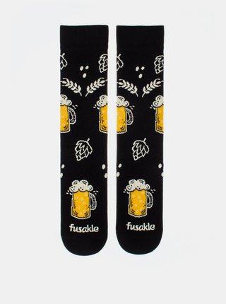 Černé vzorované ponožky Fusakle Chmelová brigáda