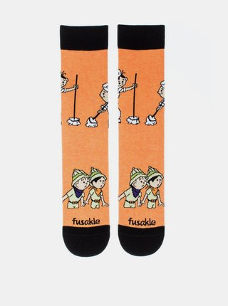 Oranžové vzorované ponožky Fusakle Lolek a Bolek