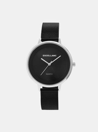 Dámske hodinky s nerezovým remienkom v čiernej farbe Excellanc