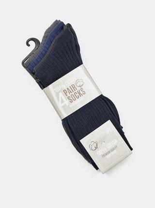 Sada štyroch párov pánskych ponožiek v čiernej a modrej farbe Something Special