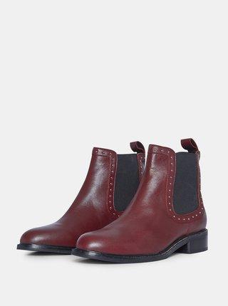 Vínové kožené chelsea boty Dorothy Perkins