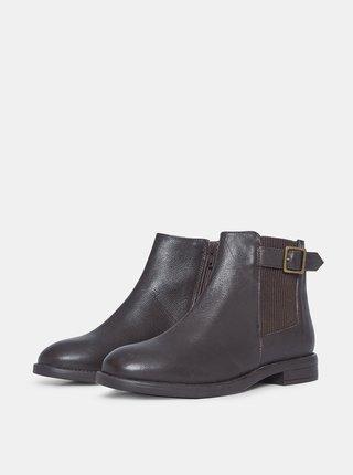 Tmavě hnědé kožené chelsea boty Dorothy Perkins