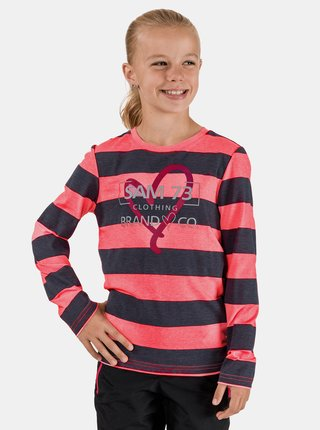 Růžovo-šedé holčičí pruhované tričko SAM 73