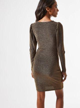 Hnědé pouzdrové třpytivé šaty Dorothy Perkins Petite