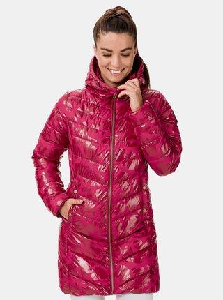 Ružový dámsky prešívaný vzorovaný kabát SAM 73