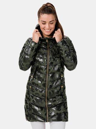 Kaki dámsky prešívaný vzorovaný kabát SAM 73