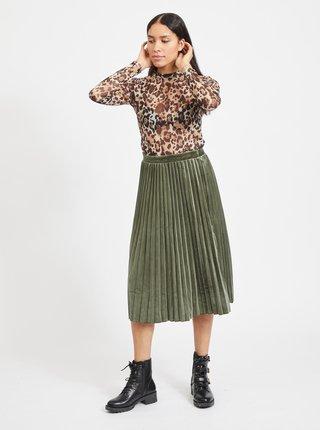 Zelená sametová plisovaná midi sukně VILA-Oelle