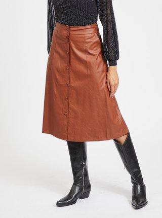 Hnědá koženková midi sukně VILA-Asenna