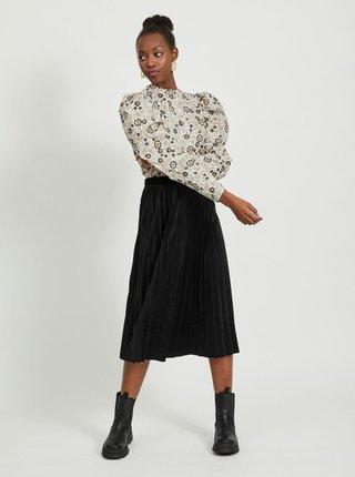 Černá sametová plisovaná midi sukně VILA