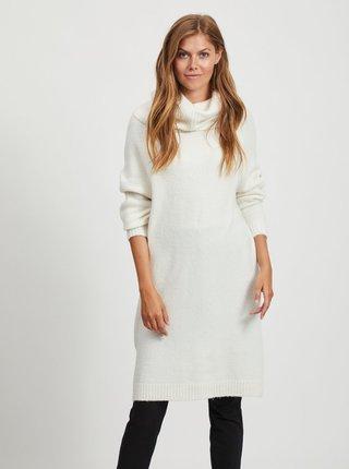 Bílé svetrové šaty s rolákem VILA