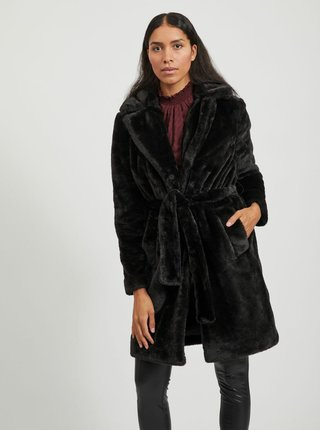 Černý kabát z umělého kožíšku VILA