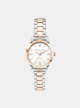 Dámske hodinky s oceľovým remienkom v striebornej farbe s kryštáľmi Trussardi
