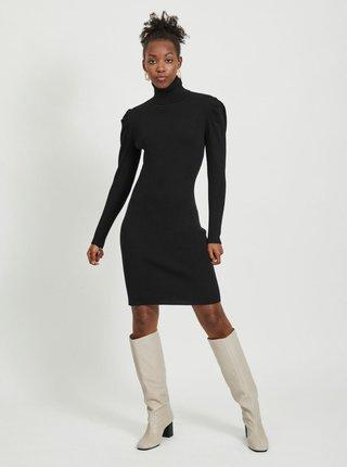 Černé pouzdrové svetrové šaty s rolákem VILA