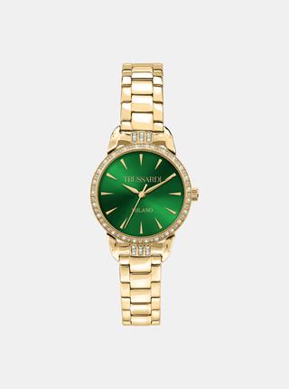 Dámské hodinky s ocelovým páskem ve zlaté barvě s krystaly Trussardi