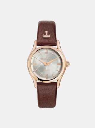 Dámske hodinky s hnedým koženým remienkom Trussardi