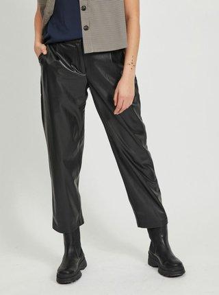 Čierne skrátené koženkové nohavice VILA