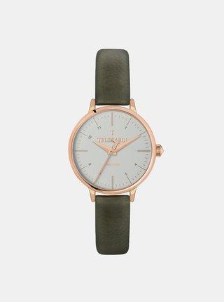 Dámské hodinky s khaki koženým páskem Trussardi