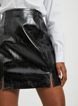 Čierna koženková sukňa VILA