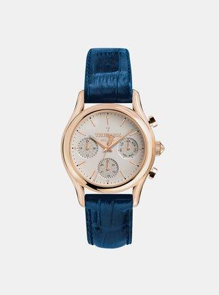 Pánske hodinky s modrým koženým remienkom Trussardi