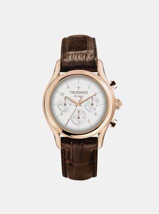 Pánske hodinky s tmavohnedým koženým remienkom Trussardi