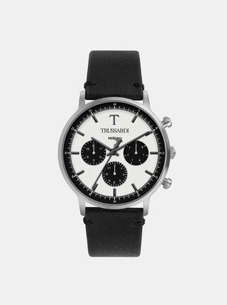 Pánske hodinky s čiernym koženým remienkom Trussardi