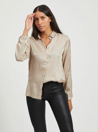 Béžová lesklá košile VILA