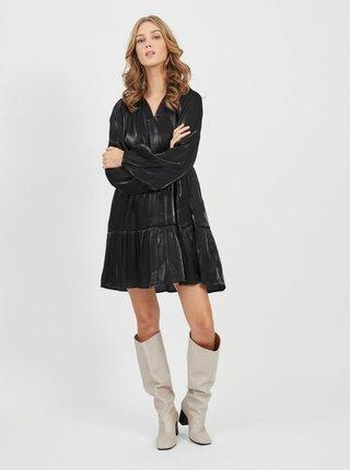 Černé volné lesklé šaty VILA