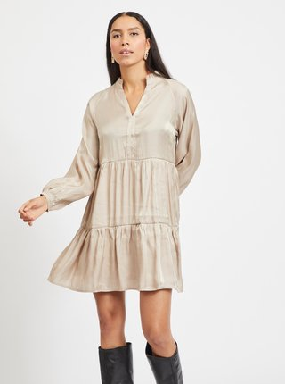 Béžové voľné lesklé šaty VILA