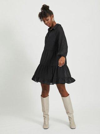 Čierne vzorované košeľové šaty VILA