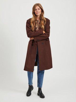 Tmavě hnědý kabát s příměsí vlny .OBJECT-Lina