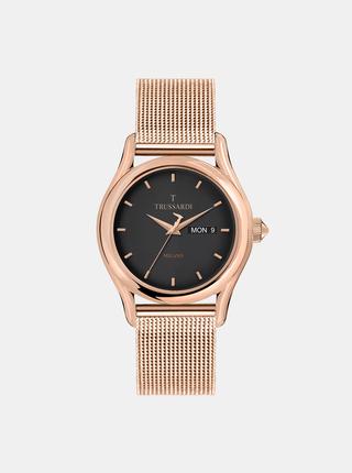 Pánske hodinky s oceľovým remienkom v ružovozlatej farbe Trussardi