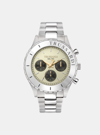 Pánske hodinky s oceľovým remienkom v zlatej farbe Trussardi