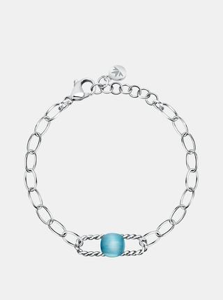 Oceľový náramok v striebornej farbe s modrý kameňom Morellato