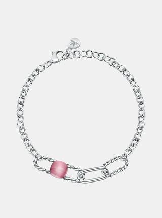 Náramek ve stříbrné barvě s růžovým kamenem Morellato