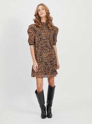 Hnedé šaty s leopardím vzorom .OBJECT