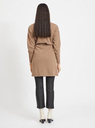 Hnědé svetrové šaty s rolákem .OBJECT