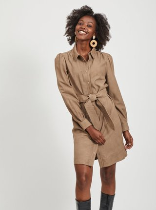 Hnědé kožené košilové šaty .OBJECT