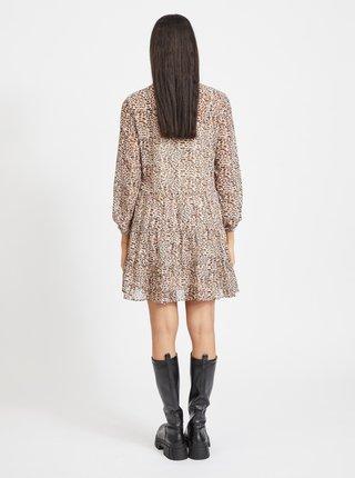 Béžové vzorované šaty se stojáčkem .OBJECT