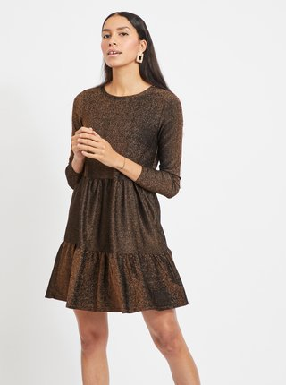Zlato-hnedé trblietavé šaty VILA