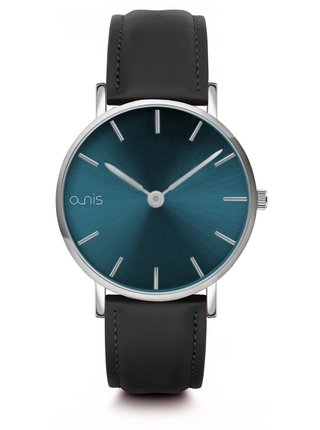 Dámské hodinky s černým koženým páskem a-nis