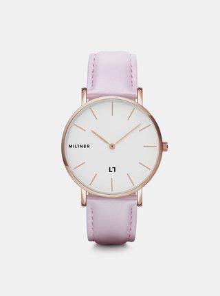 Dámské hodinky s růžovým koženkovým páskem Millner Hallfield