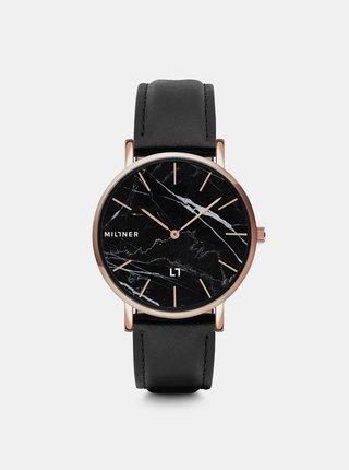 Dámské hodinky s černým koženým páskem Millner Camden