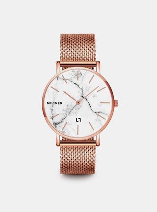 Dámské hodinky s nerezovým páskem v růžovozlaté barvě Millner Camden
