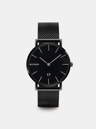Dámske hodinky s čiernym nerezovým remienkom Millner