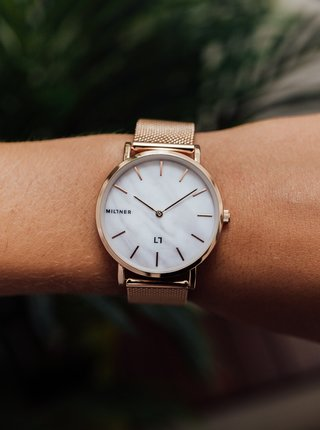 Dámské hodinky s nerezovým páskem v růžovozlaté barvě Millner Mayfair