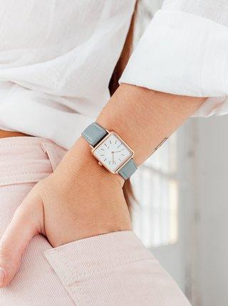 Dámské hodinky se světle šedým koženkovým páskem Millner Royal