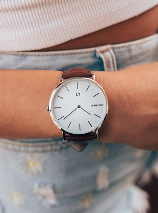 Dámské hodinky s hnědým koženkovým páskem Millner Hallfield