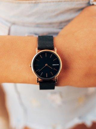 Dámske hodinky s čiernym nerezovým remienkom Millner Mini