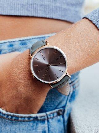 Dámské hodinky s šedým koženkovým páskem Millner Hallfield
