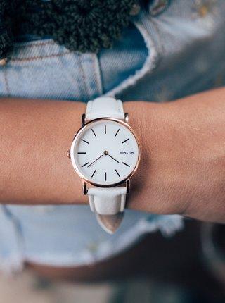 Dámské hodinky s bílým koženým páskem Millner Mini